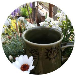 庭とカップの写真