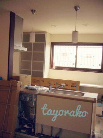 建設途中のキッチン