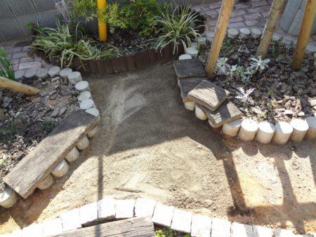 砂を敷いたところ