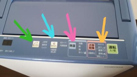 除湿乾燥機のボタンを矢印で