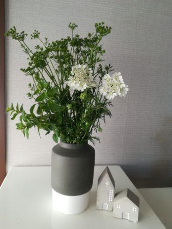 花瓶にハーブ